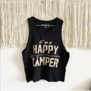 Rebellious One Happy Camper Cropped Tank Top